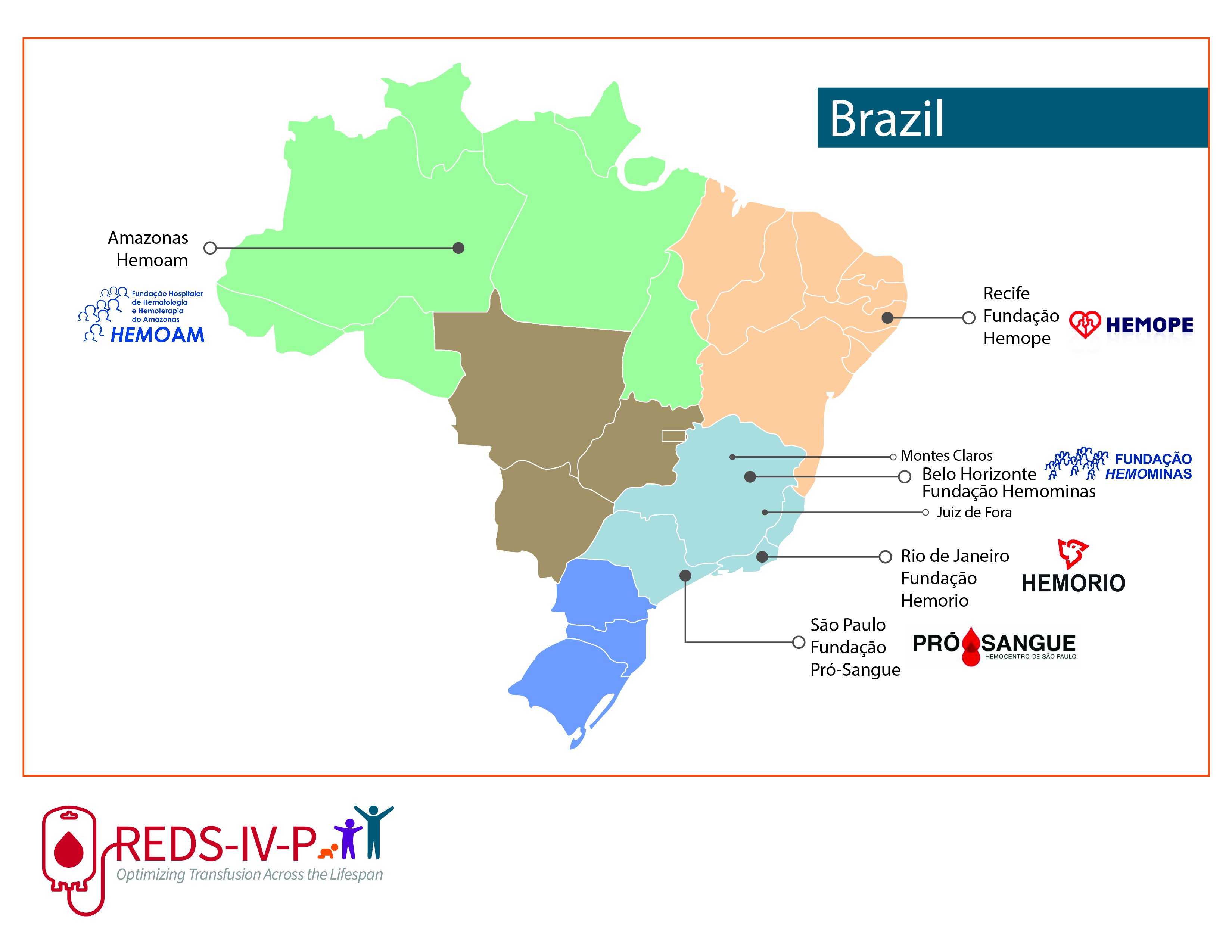 Brazil map with the five participating blood centers locations